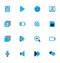 Media colorful icons set collection of smile vector
