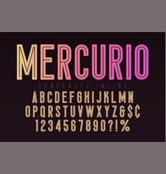 Mercurio inline font typeface alphabet condensed vector