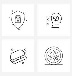 Mobile ui line icon set 4 modern pictograms vector