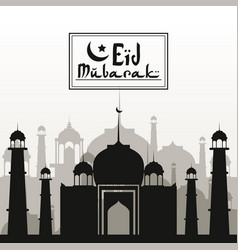 monochrome background with silhouette eid mubarak vector image