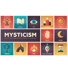 Mysticism - set of flat design infographics vector