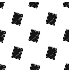 Notebook and pen icon in black style isolated on vector