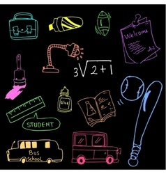 On black backgroounds tool school doodles vector
