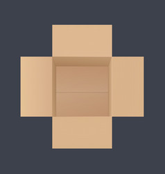 Open cardboard top view vector