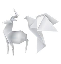 Origami deer dove vector