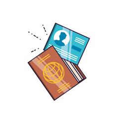 Passport and document id travel vector