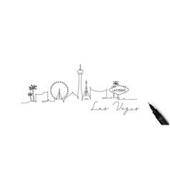Pen line silhouette las vegas vector