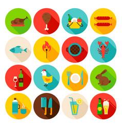 Picnic grill circle icons set vector