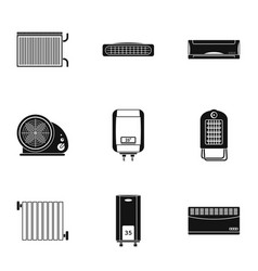 Preheat icons set simple style vector