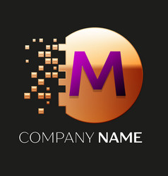 purple letter m logo symbol in golden pixel circle vector image