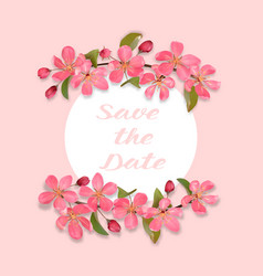 Save date card with cherry blossom vector