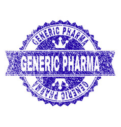 Scratched textured generic pharma stamp seal with vector