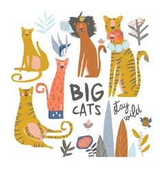 set cartoon wild cats liontigerleopard with vector image