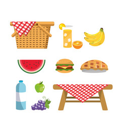 Set hamper with healthy fruits and wine vector
