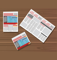set newspaper on wooden table vector image