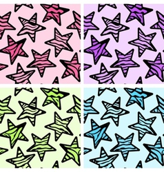 Set of 4 zebra print stars backgrounds vector image