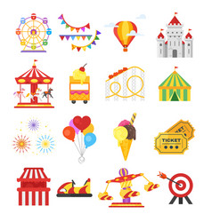 set of amusement park fun icons vector image