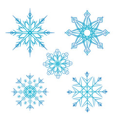 set of doodle snowflakes for your creativity vector image