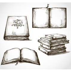 Set of old books drawings vector