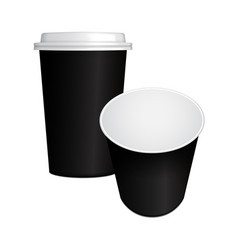 set of realistic paper coffee cup with black cap vector image