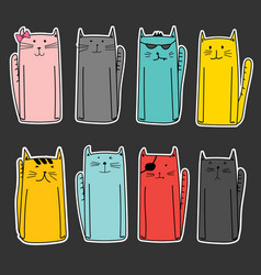 set of sticker cute cat vector image