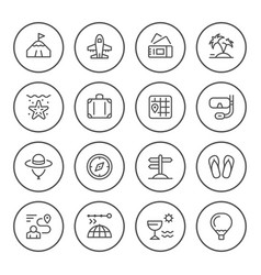 set round line icons travel vector image