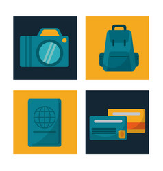 Set travel camera backpack credit card passport vector