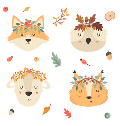 set tribal animals in crowns squirrel fox owl vector image
