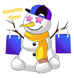 shopping snowman on white background vector image