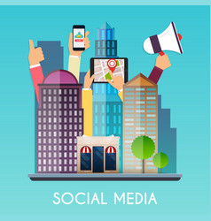 social media and on devices in hands city vector image
