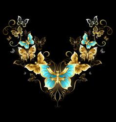 Symmetrical Pattern of Golden Butterflies vector