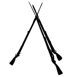 the black silhouette of vintage military rifles vector image