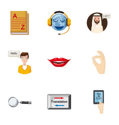 translation of language icons set cartoon style vector image