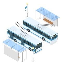 Trolleybus and trolley bus shelter vector image