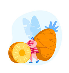 tropical fruits diet young woman rolling huge vector image