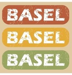 Vintage Basel stamp set vector