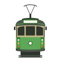 Vintage tram flat style vector
