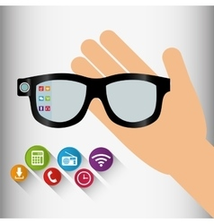 Vr glasses wearable technology application shadow vector
