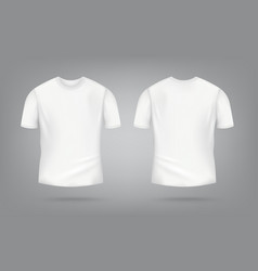 white male t-shirt realistic mockup set from front vector image