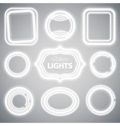 White neon lights frames vector