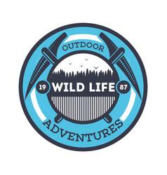 wildlife adventures vintage isolated badge vector image
