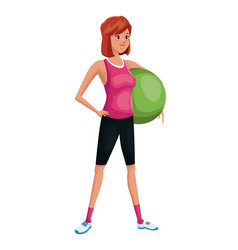 woman sports training fitball vector image