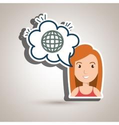 woman technology bubble speak vector image