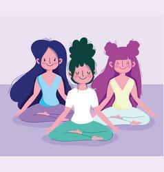 Young women practicing yoga lotus pose activity vector