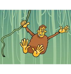 ape in the jungle cartoon vector image vector image