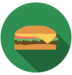Flat design burger icon with long shadow isolated vector image