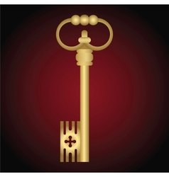 Golden Antique Key On The Red Background vector image vector image