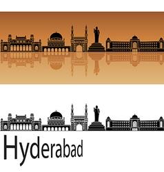 Hyderabad skyline in orange vector image vector image