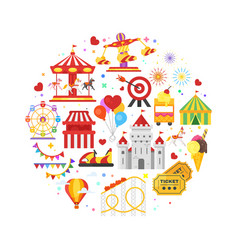 round composition of amusement park symbols vector image
