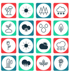 Set of 16 world icons includes cold climate vector